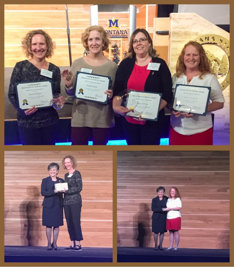 Photo collage with service award recipients Susan Gallagher Kathy Richards Jamie DuHoux and Leann Koon. Other images show Susan and Leann receiving awards from from Waded Cruzado president of Montana State University