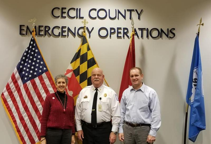 Visiting the Cecil County 9-1-1 Call Center with Chief Richard Brooks and freshman Senator Gallion.