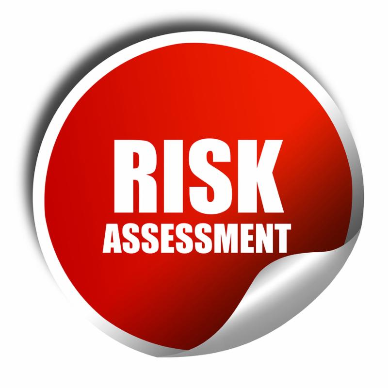 risk assessment, 3D rendering, red sticker with white text