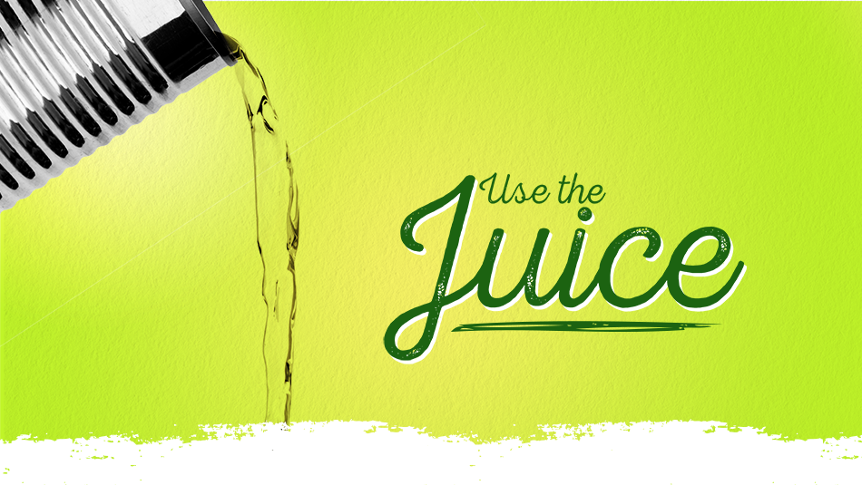 """can of pear juice pouring liquid against a green background. Text that says, """"Use The Juice"""""""