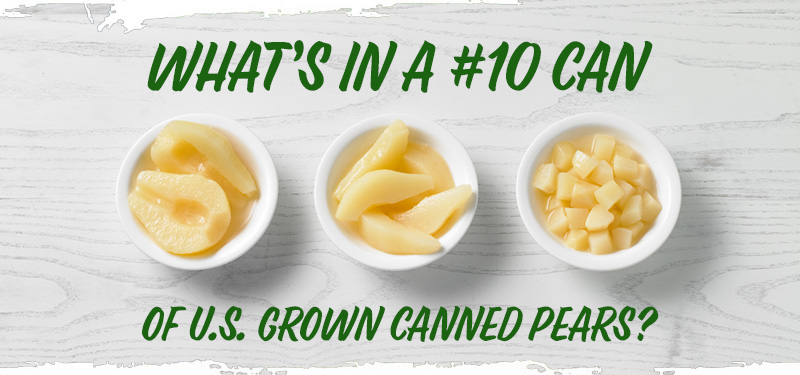 """three bowls of pears on a white table, one is diced, one is halved, one is sliced. Text """"What's in a #10 can of U.S. Grown Pears?"""""""