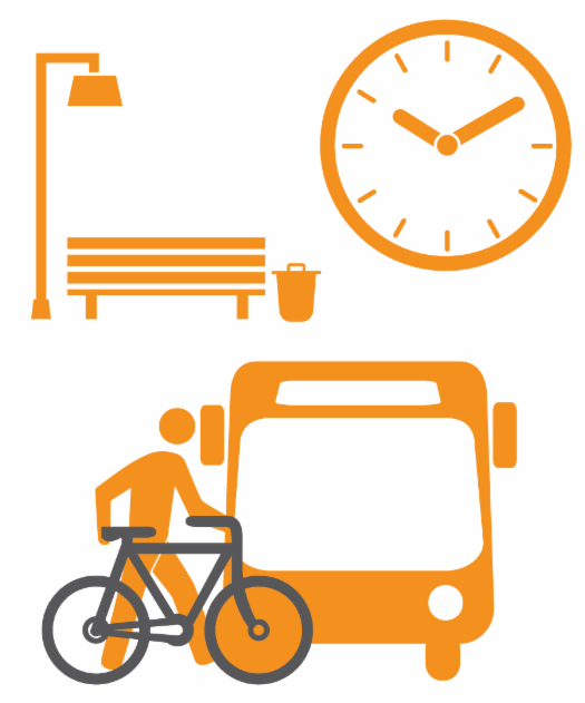 transit icons - bench, clock, bus with bike