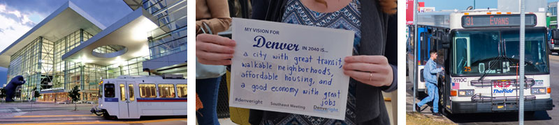 Light rail train downtown, community feedback sign, and RTD bus