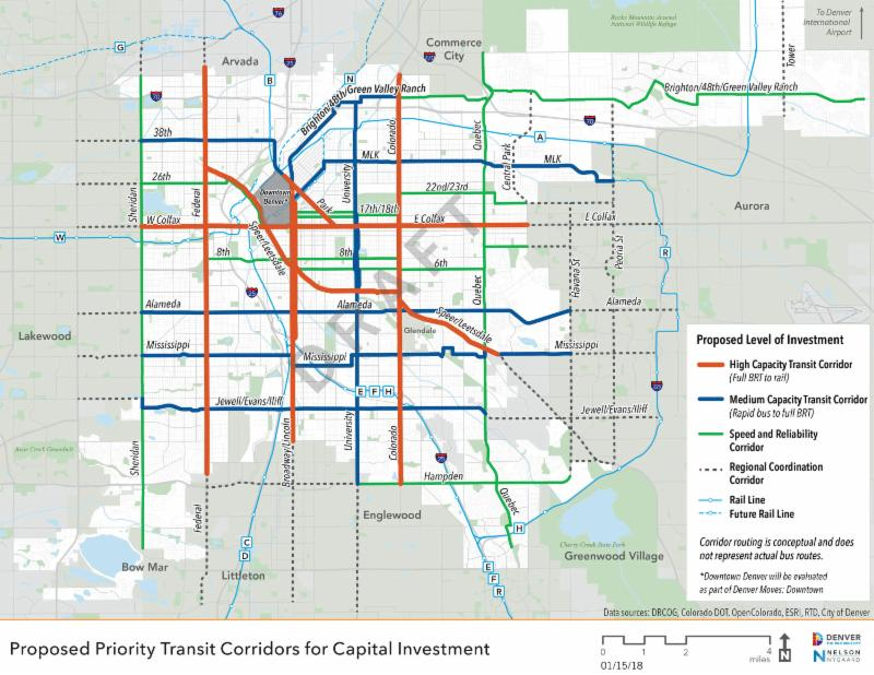 map of proposed transit corridors for capital investments, showing three levels of capacity