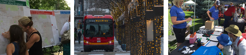 Denver Moves Transit outreach events and 16th street mall bus