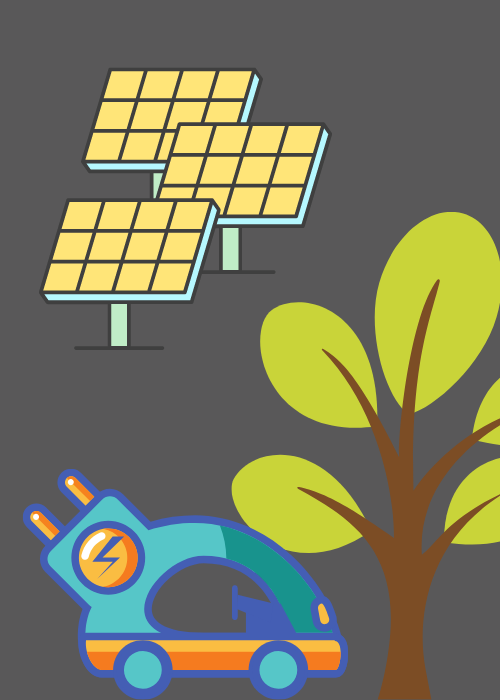 Illustration of an EV, a tree, and solar panels
