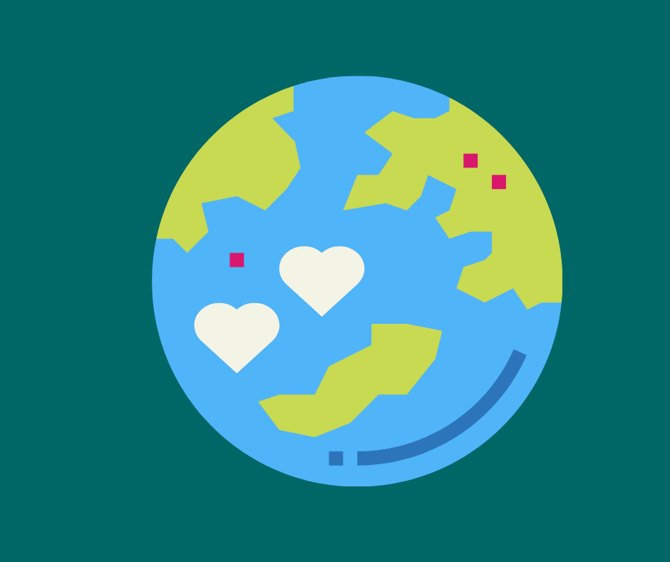 Heart-shaped countries on a globe