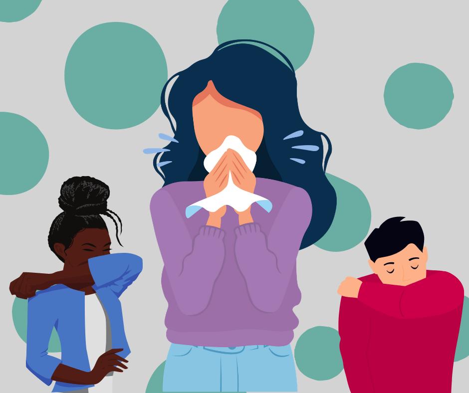 Three people sneezing