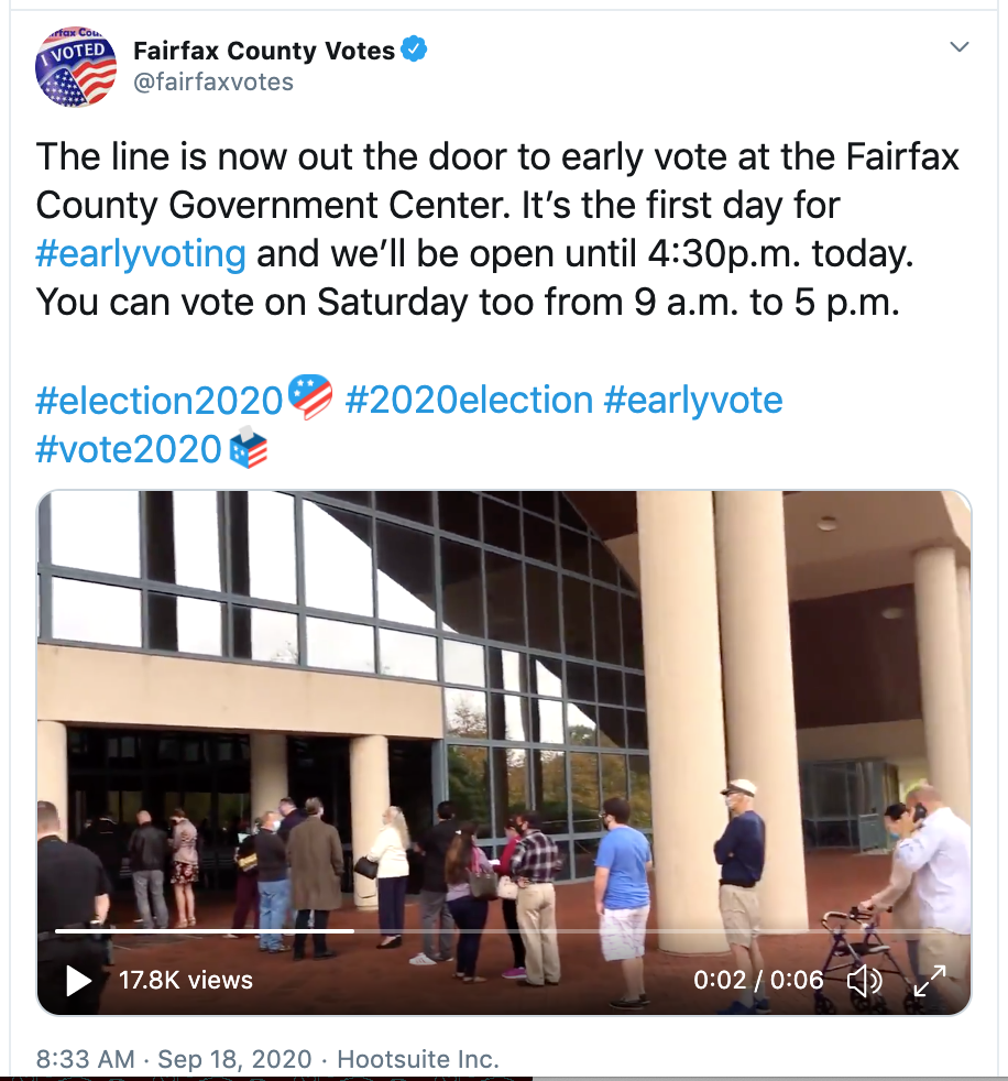 Tweet of long voter lines from Fairfax County