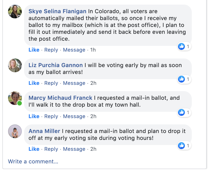 Engaging thread about voting plans on Facebook.