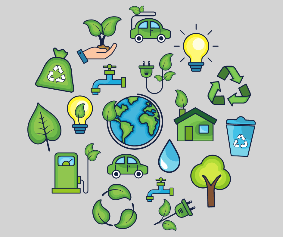Collage of eco-friendly images