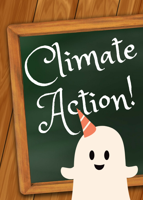 Chalkboard says 'climate action' with cute ghost standing nearby