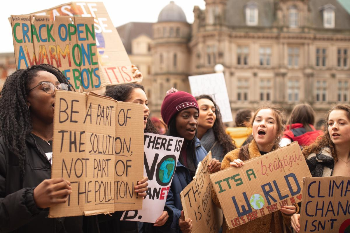 Kids at a climate protest