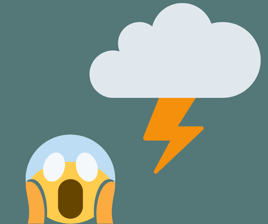 Man getting hit by lightning. Do not worry he is an emoji