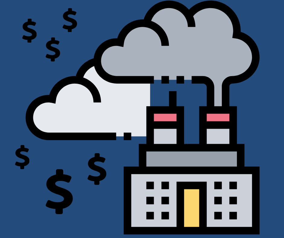 Factory chugging pollution with dollar signs
