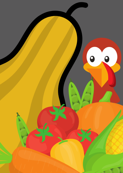 Worried-looking turkey hiding behind vegetables