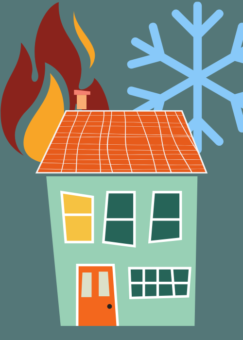 House with fire and a snowflake depicting heat and cold.