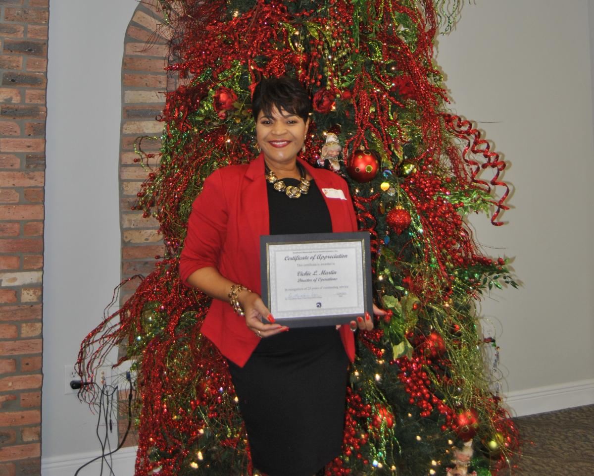 Vicky Martin was recognized for 25 years of service. Mrs. Martin is Director of Operations at SEMRHI.