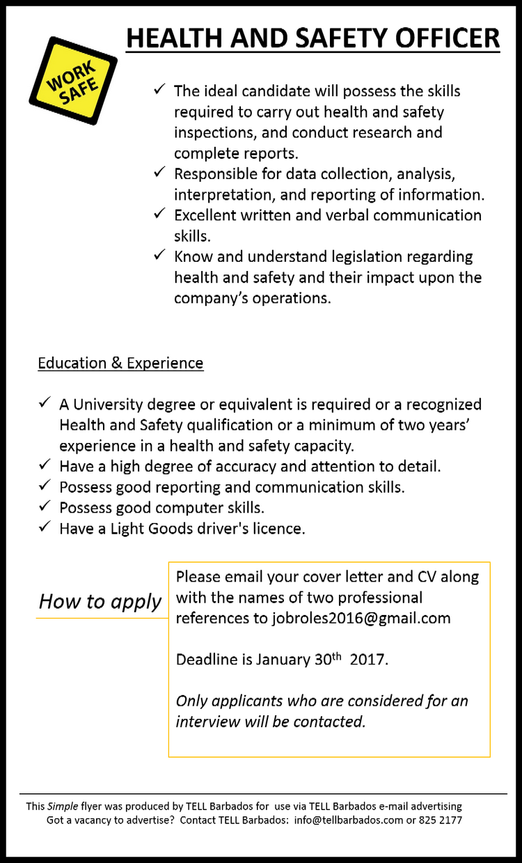 Vacancy: Health and Safety Officer