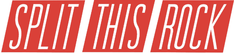 Split This Rock logo. The words Split This Rock appear in white within red slanted blocks.