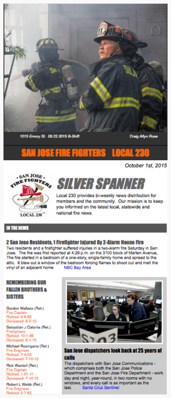 San Jose Fire Fighters News- Silver Spanner 3 14 2018