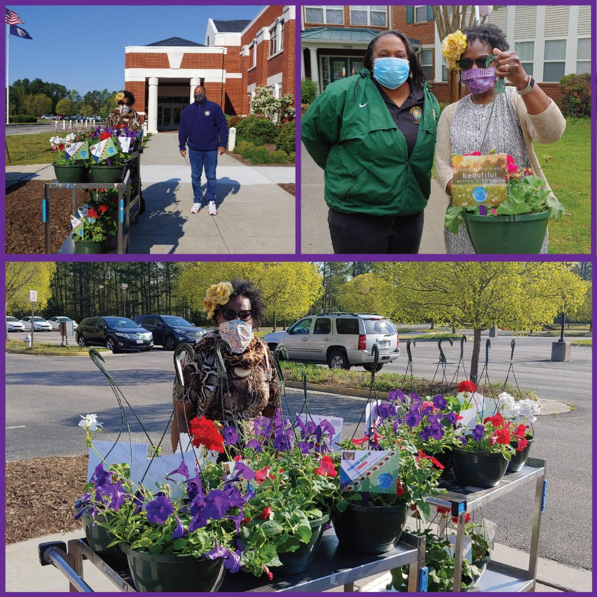 CJDH Greenhouse delivers plants to seniors - clockwise from top left: Renita Davis-Kelley and Detric Branch; Shaliana McFarland and Davis-Kelley; Davis-Kelley.