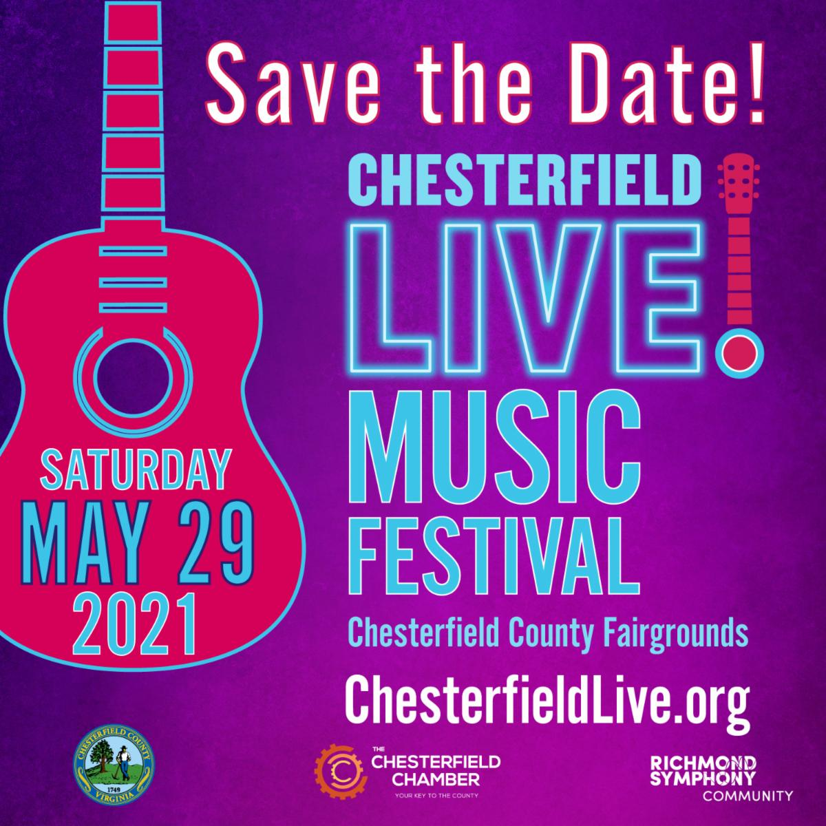 CfieldLive2021 - Social Media Square STD - Save teh Date! Chesterfield LIVE! Music Festival - Saturday, May 29, 2021 - Chesterfield County Fairgrounds - ChesterfieldLive.org