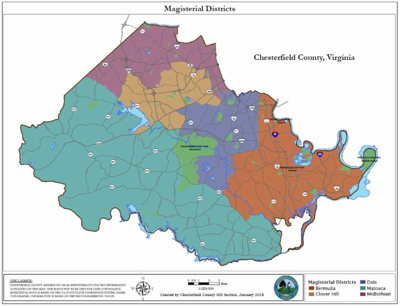 Chesterfield County Magisterial Districts Map