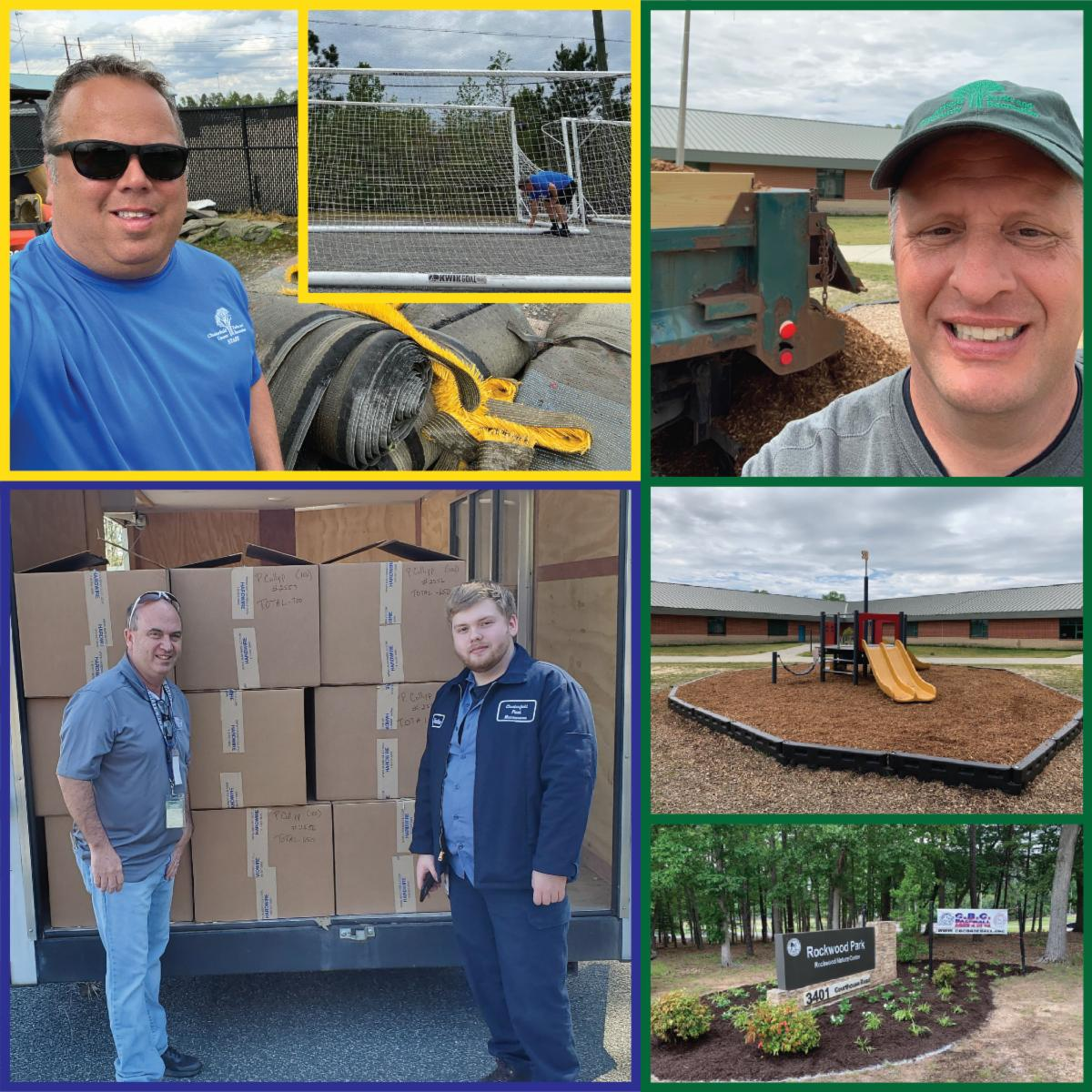 Parks and Recreations - Redeployments - Clockwise, from top left: Lynn Hall with turf and nets at River City Sportsplex; Mark McCoy assists with landscaping at Marguerite Christian Elementary School and Rockwood Park; Mark Pinney (left) and Jonathan Furrow