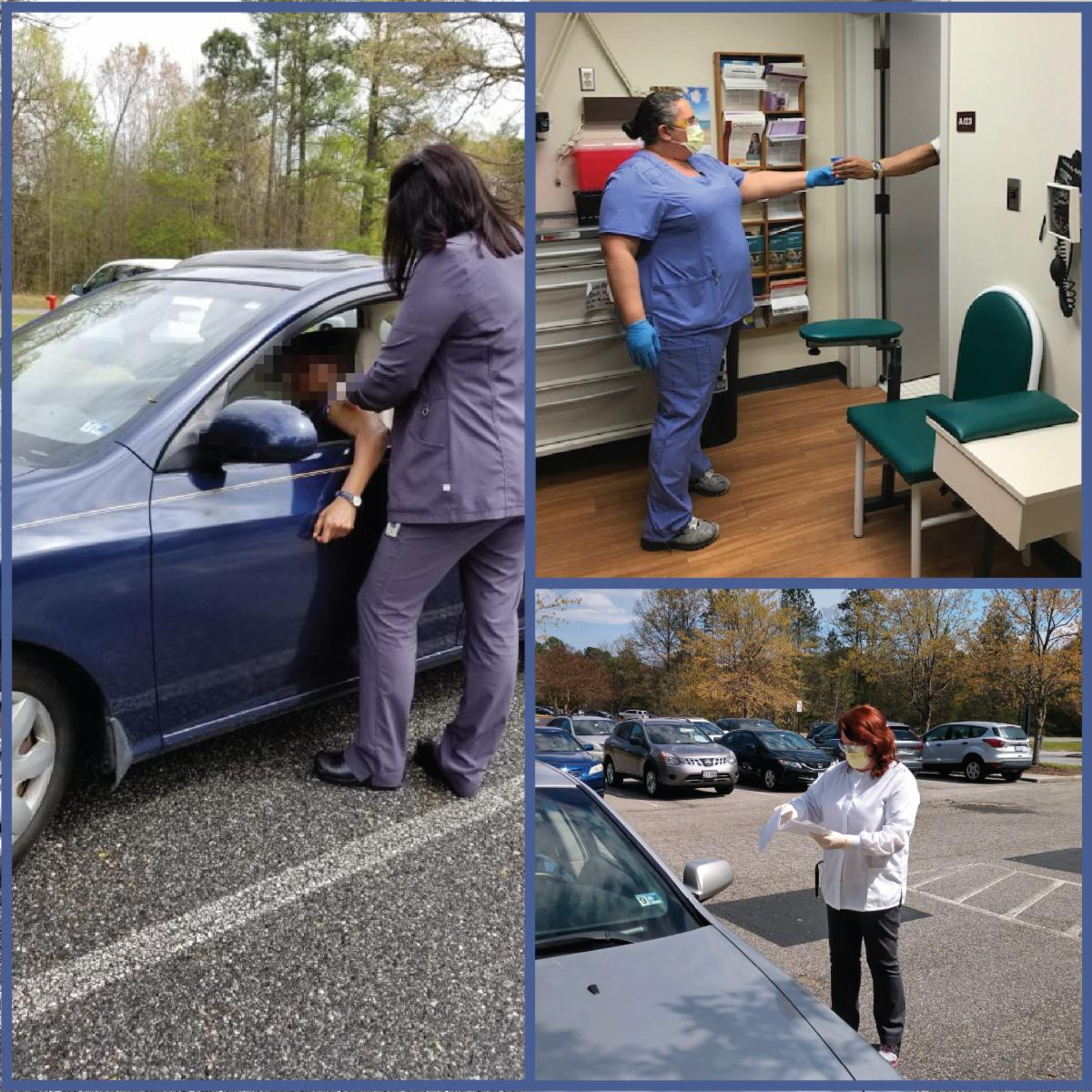 Clockwise, from left: Nie'cole Debates, psychiatric RN, providing a long-acting injection; Monique Hayes, OBOT RN, handing a cup for a urine drug screen; Rose Rodgers, medication assistant, handing out medications from Westwood pharmacy.
