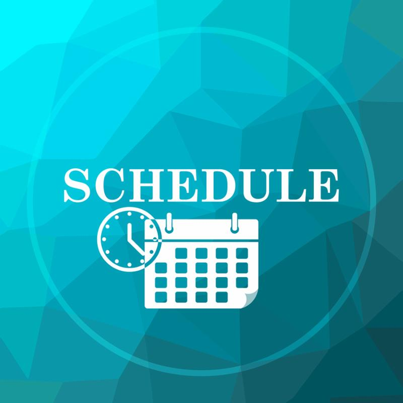 Schedule icon. Schedule website button on blue low poly background.