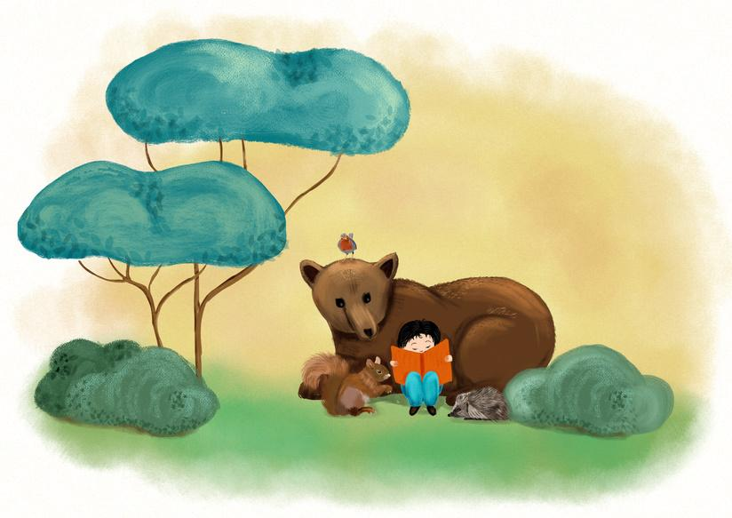 Child Reading to Bear-copyrighted image
