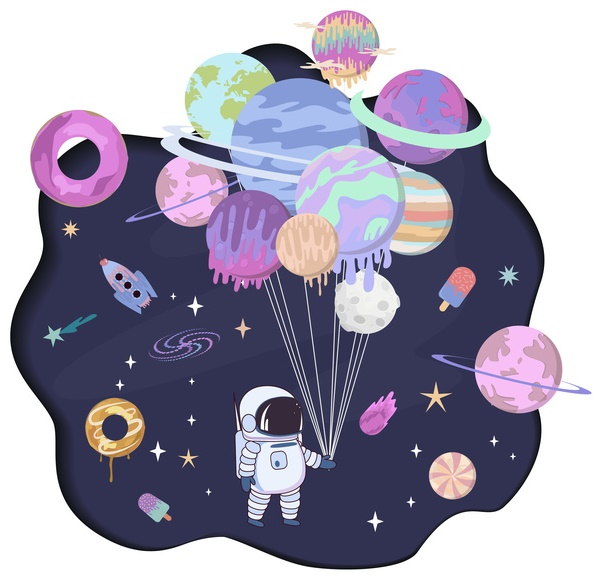 Astronaut-Planet Balloons-copyrighted image