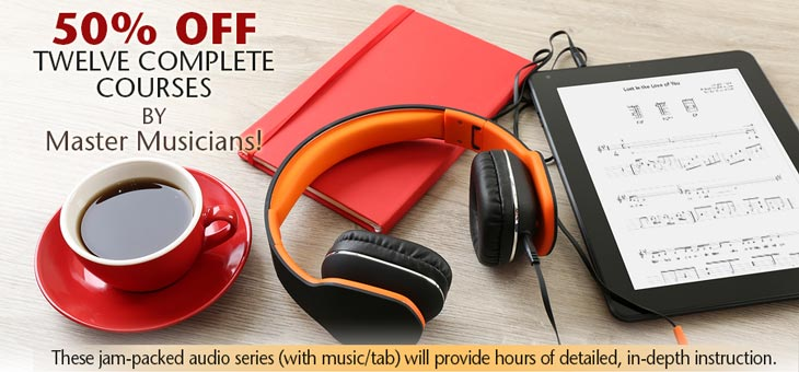 50 percent Off twelve Complete Courses By Master Musicians!