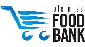 Logo containing Grocery Cart with text that reads Ole Miss Food Bank
