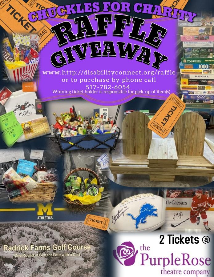 The raffle giveaway for chuckles for charity  there are many options available at the website  the flyer shows images of a white detroit lions football movie popcorn wagon filled with various alcohol Adirondack chairs