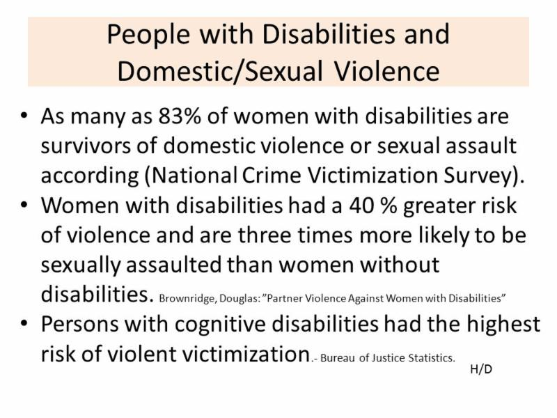 stats for people with disabilities and sexual violence. Persons with cognitive disabilities had the highest risk of violent victimization