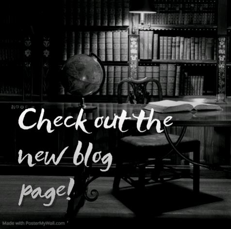 library setting with a table and globe for a backdrop with writing overlaid saying check out the new blog page