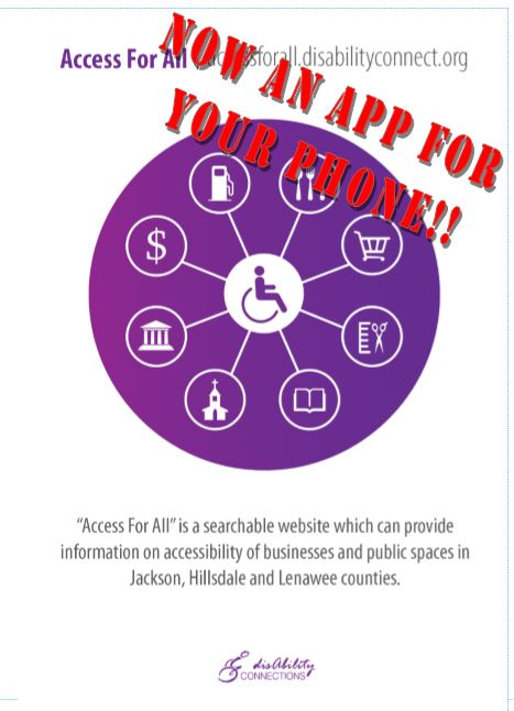 a poster stating that the access for all program is now a website and an app for your phone