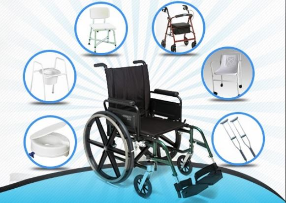 Durable medical equipment images of a wheelchair,  shower chair, crutches, and toilet seat risers.
