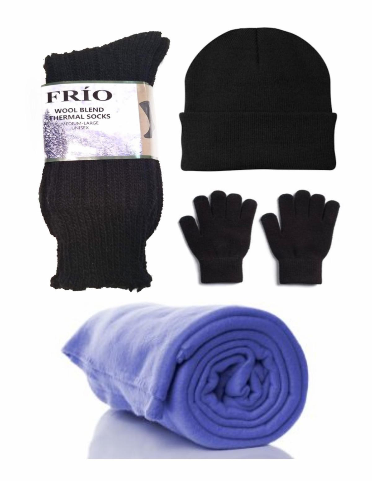 a set of thick black wool socks gloves hat and a fleece blanket are shown