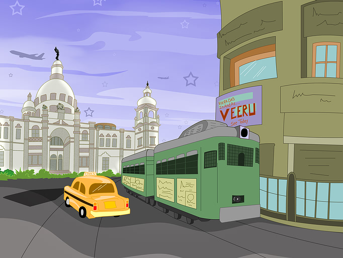 a drawing of a city street with a yellow taxi and green bus in front of a city building.