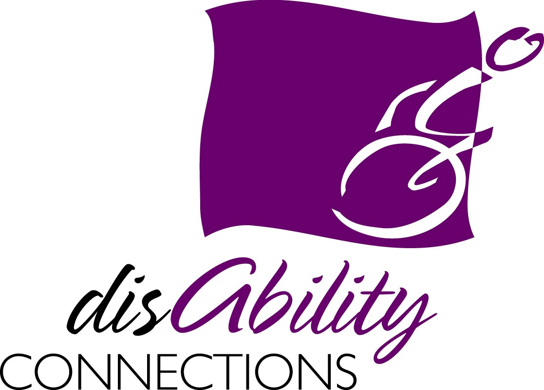the disability connections logo is shown featuring an illustration of a person leaning forward pushing a wheelchair and the words disability connections appear beneath the image.
