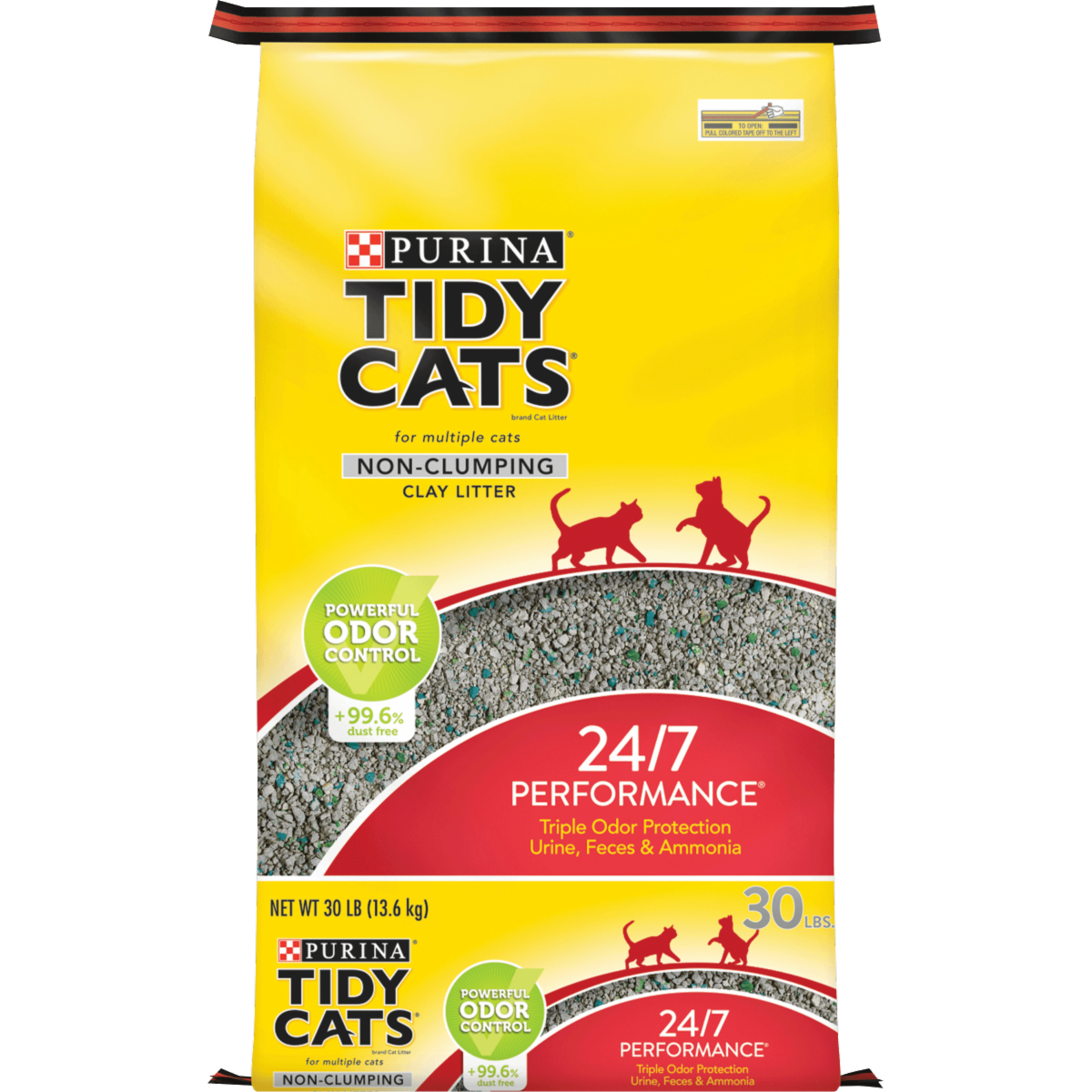 a large yellow bag of non clumping  kitty litter