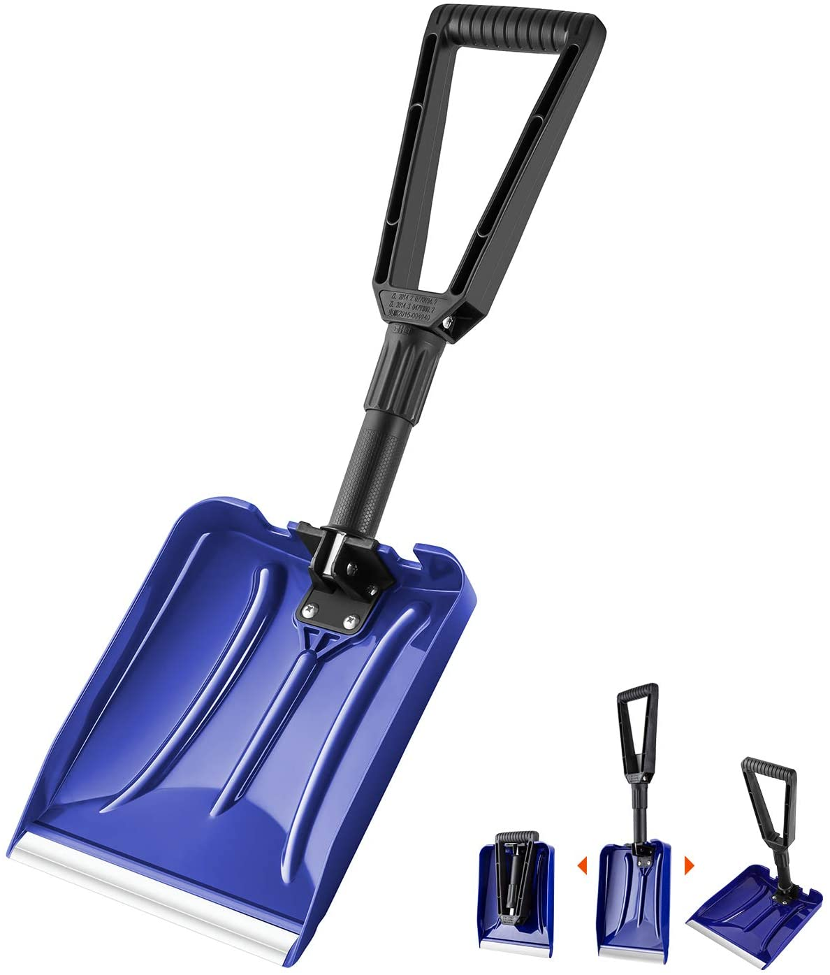 a collapsible shovel is shown at full length and also broken down for easier storage