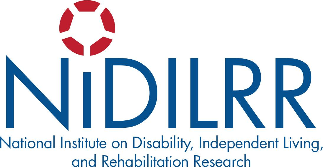 NIDILLR Logo, Red Circle and blue text National Institute on Disability Independent Living and Rehabilitation Research