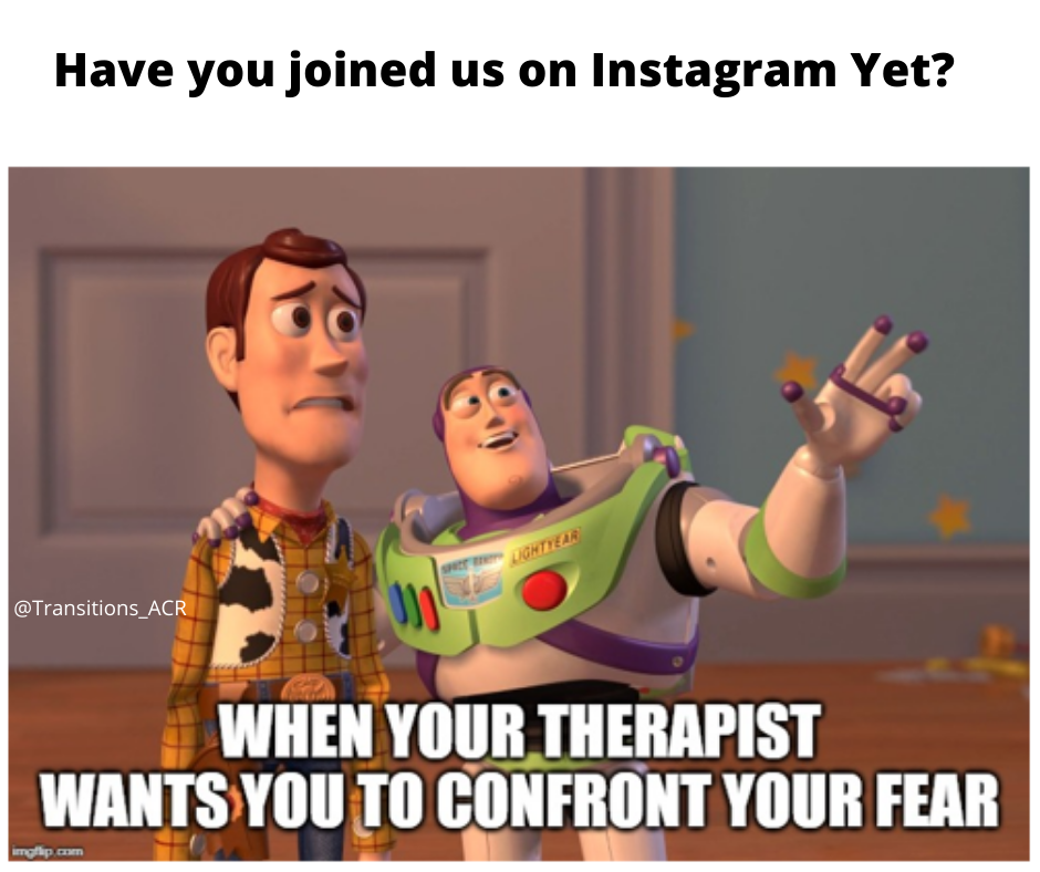 """This is a meme of Buzz Lightyear and Woody staring out into the distance. Buzz has his hand up, pointing and looking excited. Woody looks scared. The text below them says, """"When your therapist wants you to confront your fear."""""""