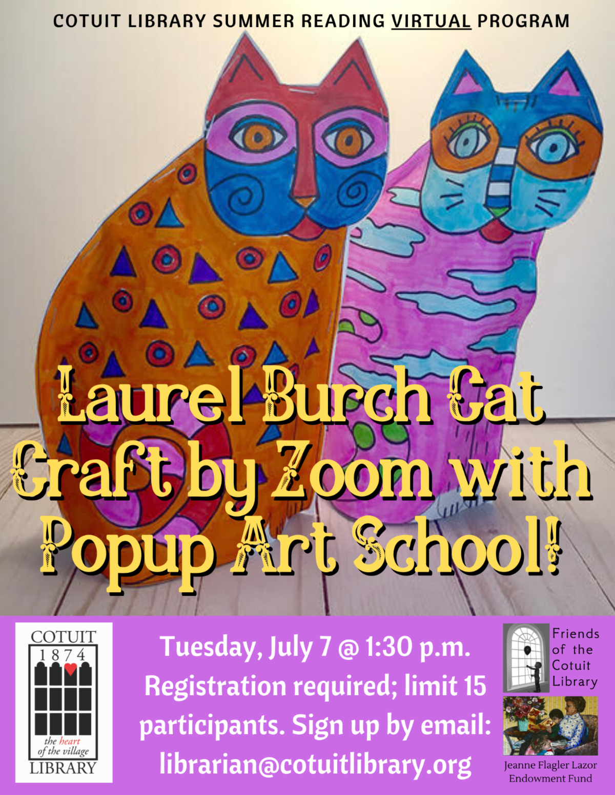 Popup Art School Zoom Workshop - Tuesday, July 7@1:30PM