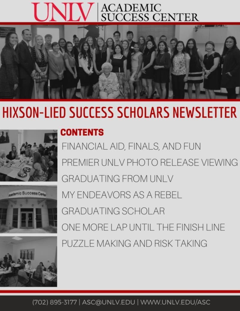 Hixson-Lied Success Scholars Newsletter - May 2018