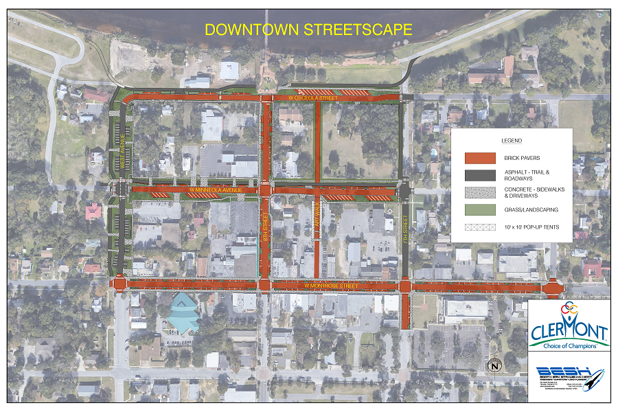 aerial rendering of downtown clermont showing brick paving plans